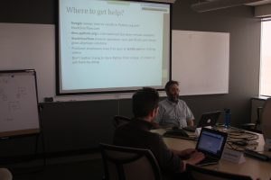 Victor Volkman delivering the first ever one hour Python class (25-March-2014)
